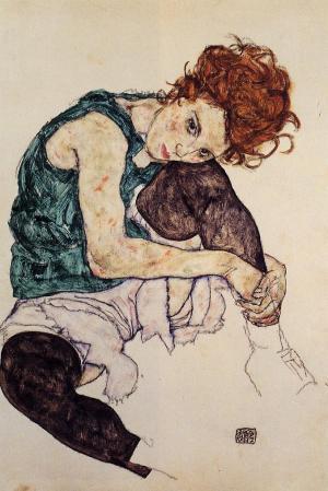 Femme assise à la jambe repliée, 1917, Egon Schiele