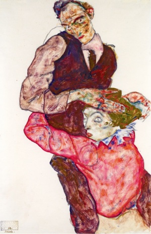 Lovers - Self-Portrait with Wally, 1914-1915, Egon Schiele