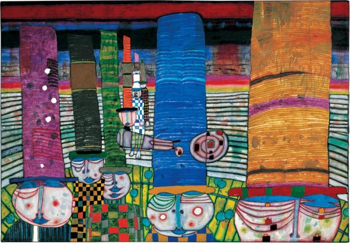 Hundertwasser, 844 HATS THAT WEAR YOU, 1982. https://www.kunsthauswien.com
